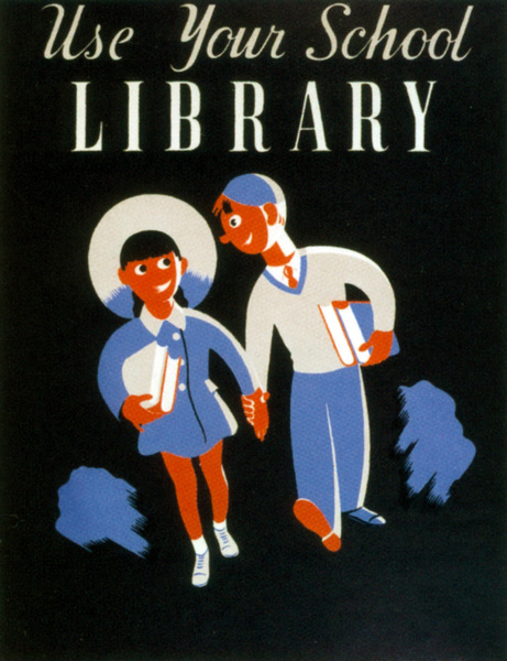 Use your school library, 1939 (colour litho)